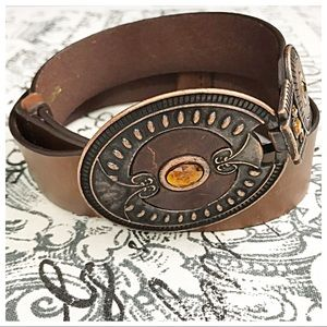 Chico's M/L Brown Leather Belt with Buckle